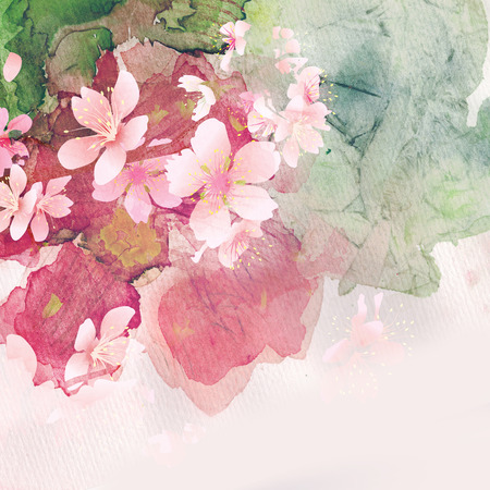 taffy: cherry blossom, watercolor image for design