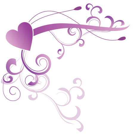 swill: abstract floral heart violet magenta vector
