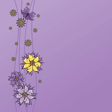 Purple  with flowers decorative border Ilustracja