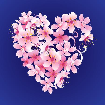 vector pink flowers heart on dark blue background Illustration