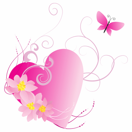 pink heart with flowers and butterfly isolated on white Illustration