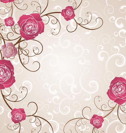 vintage rose: beige framed red roses pattern vector flourish illustration