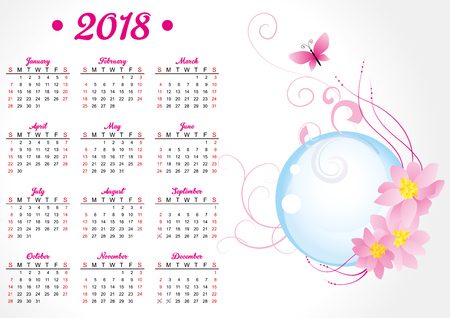 pink butterfly and flowers 2018 year calendar Illustration