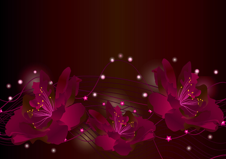 Red flowers on dark background glowing border