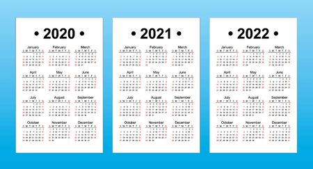 Set of 3 calendar templates, English language, Sunday first. 2020, 2021, 2022 year vector