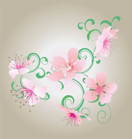 green ornament and pink flowers illustration