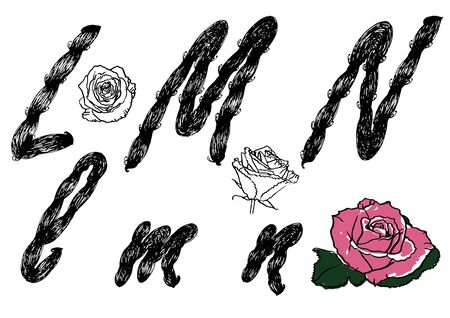 hand drawn letters L M N black vector with rose illustration