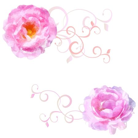 vector watercolor pink roses with florishes