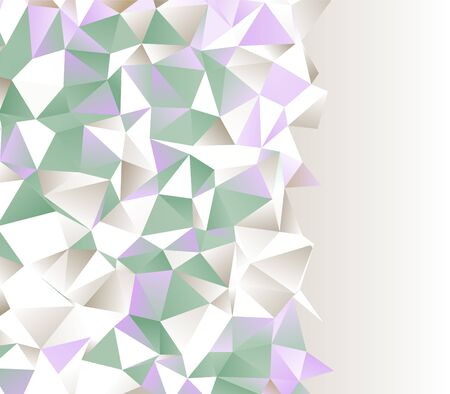 green and purple gems stone textured polygonal surface border light background