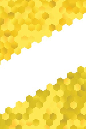 diagonal white banner with honey combs sides yellow hexagon Vecteurs