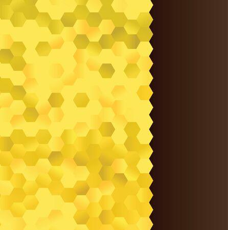yellow gold hexagons honey combs border and dark brown background template Vecteurs