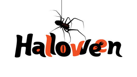 Halloween vector lettering. Autumn holiday calligraphy with spider afor banner, poster, greeting card, party invitation on isolated on white background.