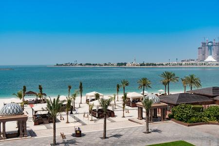 A beautiful beach in Arabian Gulf, Abu Dhabi, UAE in Emirate palace hotel. Editorial