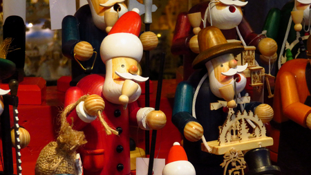 Classic Wooden Santa Claus Toy at Christmas Market