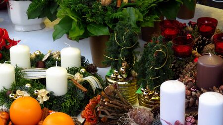 Christmas Decorations and Wreaths Stock Photo