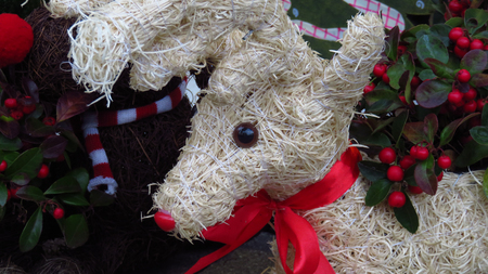 Decorative Christmas Reindeer made of Hay (Close-Up)