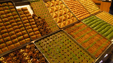 Different Types of Baklava Sold at Spice Bazaar Stockfoto
