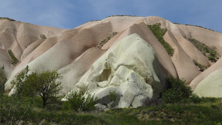 Mountain Colored by Minerals in Cappadocia Stockfoto - 100535932