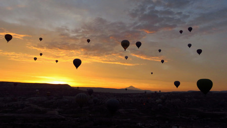 Panorama of Hot Air Balloons Flying Over Rock Formations in Cappadocia