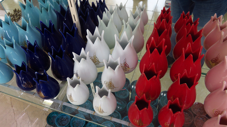 Red, White and Blue Tulip-Shaped Vase in a Souvenir Shop