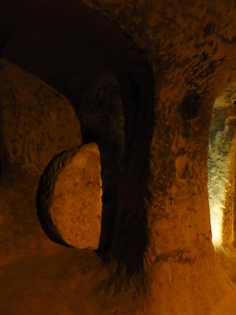 Rolling Stone Trap Door at Hittite Cave in Mazi Underground City, Cappadocia