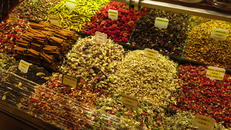 Tea Spices at the Spice Bazaar in Istanbul Stock Photo