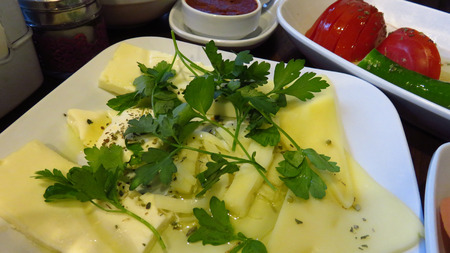 Turkish Cheese for Breakfast Served at Restaurant Stockfoto