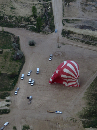 Turkish Red and White Hot Air Balloon Landing As Seen From Above