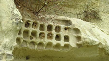 Ancient Pigeon Holes in Remote Area or Cappadocia's Landscape