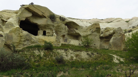 Beautiful Ancient Cave Houses in the Remote Area of ??Cappadocia's Landscape