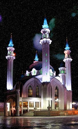 Russia, Kazan, mosque ���-Sharif. Computer processing, imitation of painting Stock Photo