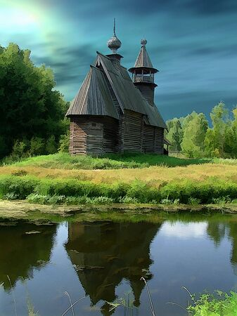 Russia, Kostroma, museum of wooden architecture.