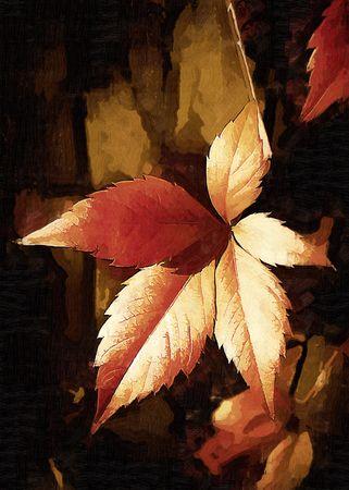 野生のブドウのゴールド シート。コンピューター処理、絵画の模倣 写真素材