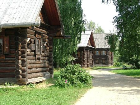 Russia, Kostroma, museum of wooden architecture. View of the village street 4 photo