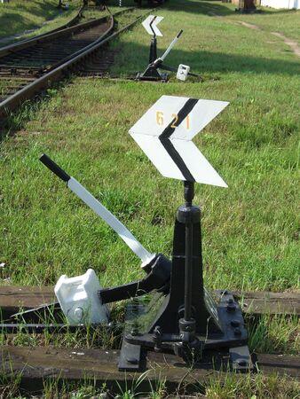 informant: Railway arrow Stock Photo