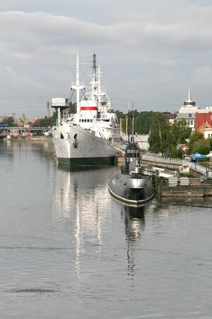 Scientific vessel Vityaz and submarine in the moorage of the museum of the ocean photo