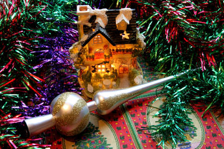 New-year adornments, tinsel and the many-colored toys photo