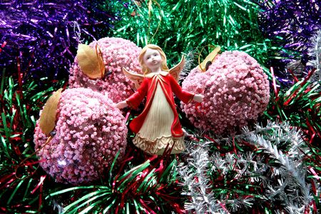 New-year adornments, tinsel and the many-colored toys Stock Photo - 2185740