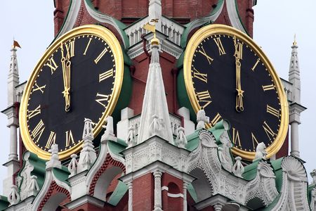 Chimes of bells on the Spasskoy tower of the Moscow Kremlin photo
