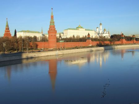 View of the Moscow Kremlin and the belfry of Ivan Velikiy photo