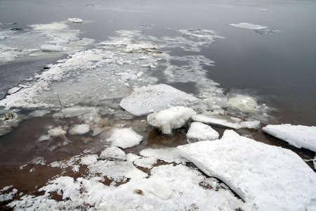 neva: River the Neva, ice floe on the shore