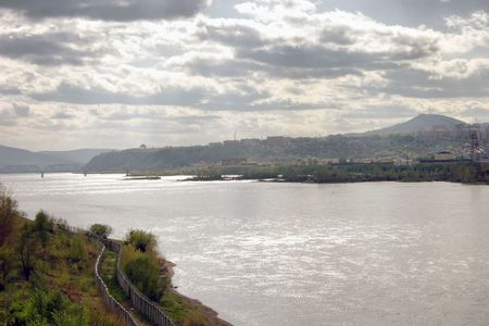 View of the river and the Yenisey and city is Krasnoyarsk Stock Photo - 3179628