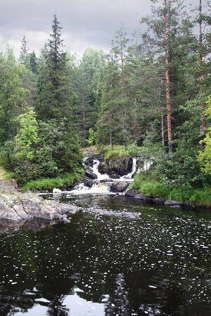 Karelia. River with the waterfall. photo