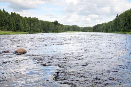 threshold: Karelia. Threshold on the river Shuya  Stock Photo