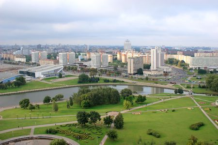 Photograph of Minsk city from 22 floors  Stock Photo