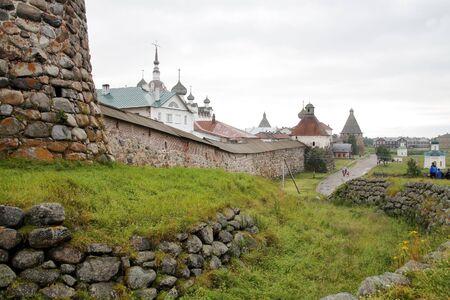 sullenly: Spaso-Preobrazhenskiy stavropigialnyy friary on Soloveckikh islands Stock Photo
