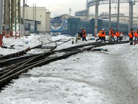 snow clearing: Railway engineers after clearing of snow
