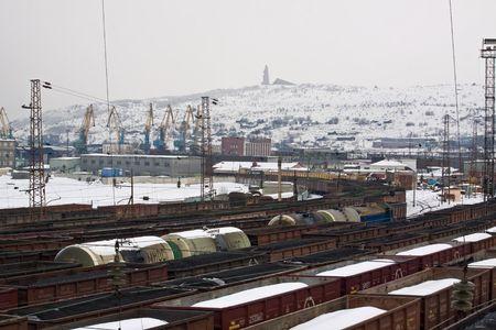 stocked: Railroad cargo station in Murmansk city Stock Photo
