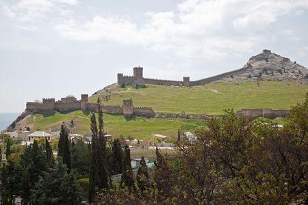 Age-old fortress near a city Sudak  photo