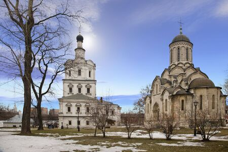 mikhail: Spaso-Andronikov monastery. Spasskiy cathedral and the temple of the Archangel of Mikhail Stock Photo